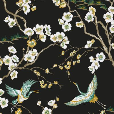 Sublime Japan Cranes Wallpaper Black Graham & Brown 105984