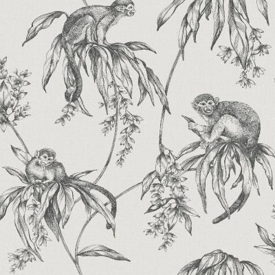 Sublime Saimiri Anthracite Monkey Wallpaper Graham & Brown 106157