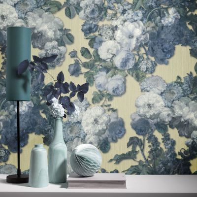 Elle Decoration Floral Baroque Wallpaper Teal Light Gold 1015302
