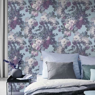 Elle Decoration Floral Baroque Wallpaper Teal Pink Green 1015318