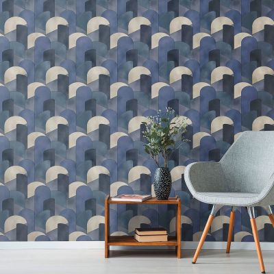 Elle Decoration 3D Geometric Graphic Wallpaper Blue Teal Beige 1015508