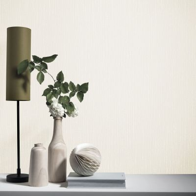 Elle Decoration Plain Textured Wallpaper Cream 1017102