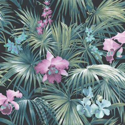 Global Fusion Tropical Florals Wallpaper Turquoise G56433