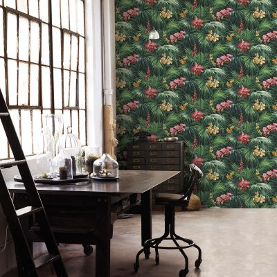 Global Fusion Tropical Florals Wallpaper Red G56434