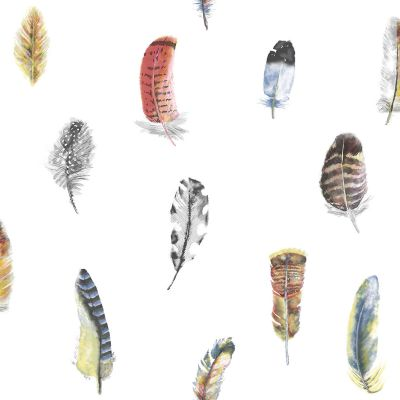 Global Fusion Feathers Wallpaper Multi Coloured G56401