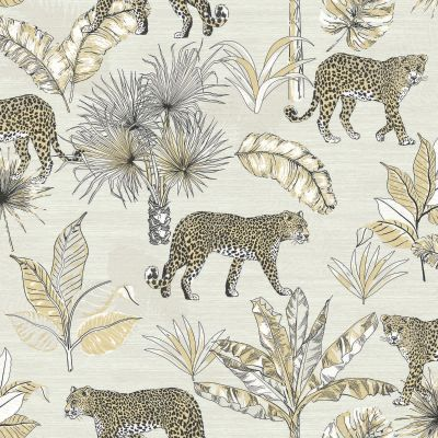 Jungle Fever Leopard Wallpaper White GranDeco JF2101