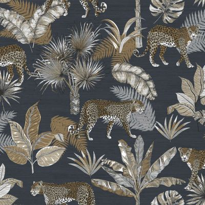 Jungle Fever Leopard Wallpaper Blue GranDeco JF2102