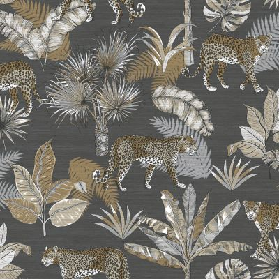 Jungle Fever Leopard Wallpaper Charcoal GranDeco JF2103
