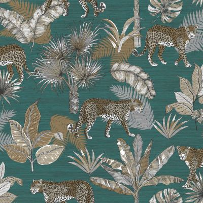 Jungle Fever Leopard Wallpaper Teal GranDeco JF2104