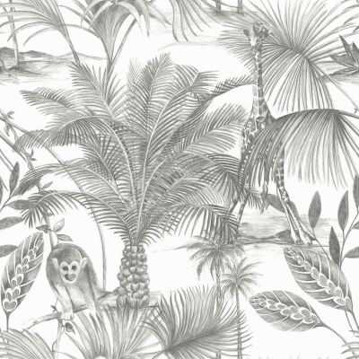 Kidatu Jungle Wallpaper Grey GranDeco JF3501