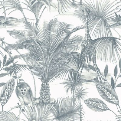 Kidatu Jungle Wallpaper Blue GranDeco JF3502