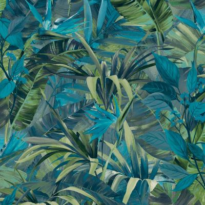 Paradise Flower Wallpaper Blue GranDeco JF2302