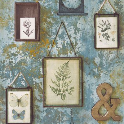 Tempera Frames Concrete Effect Wallpaper Blue GranDeco EP2101