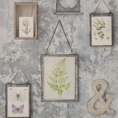 Tempera Frames Concrete Effect Wallpaper Grey GranDeco EP2102