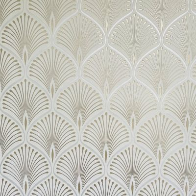 Layla Art Deco Wallpaper White GranDeco GV3101