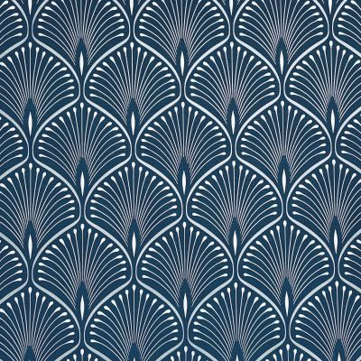 Layla Art Deco Wallpaper Navy Blue GranDeco GV3103