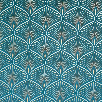 Layla Art Deco Wallpaper Teal GranDeco GV3104