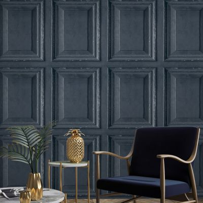 Rustic Wood Panel Wallpaper Navy Grandeco A49201
