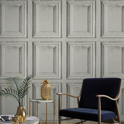 Rustic Wood Panel Wallpaper Grey Grandeco A49202