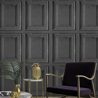 Rustic Wood Panel Wallpaper Black Grandeco A49203