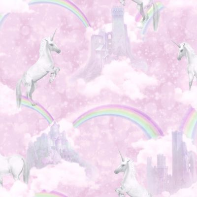 Holden Unicorns Pattern Childrens Wallpaper Glitter Motif Castle Rainbow 12481
