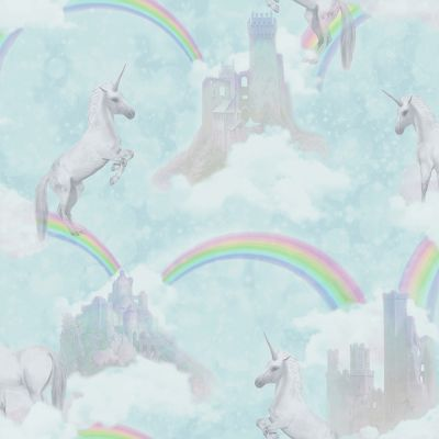 I Believe in Unicorns Wallpaper Teal Holden 12481