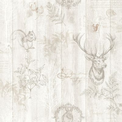 Stag Wood Panel Wallpaper Grey / Silver Holden 90090