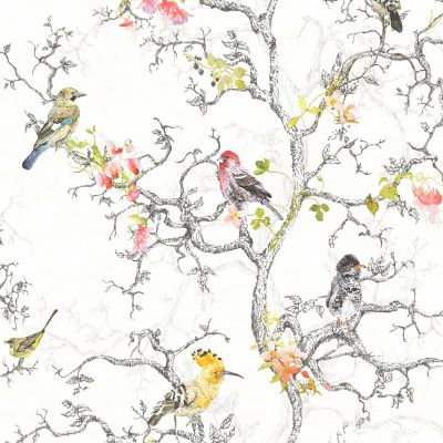 Phoebe Birds Wallpaper - White - 98080 | Decor | Feature