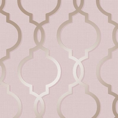 Laticia Geometric Trellis Wallpaper Pink and Rose Gold Holden Decor 65492