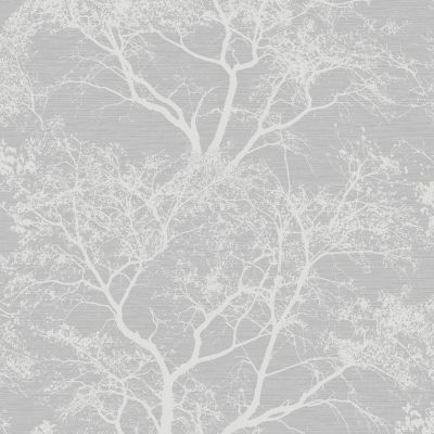 Grey Silver Whispering Trees Glitter Wallpaper - Holden Decor 65401