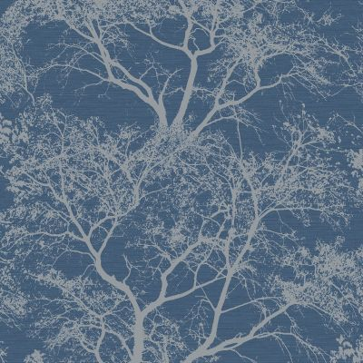 Whispering Trees Glitter Wallpaper - Blue - Holden Decor 65402