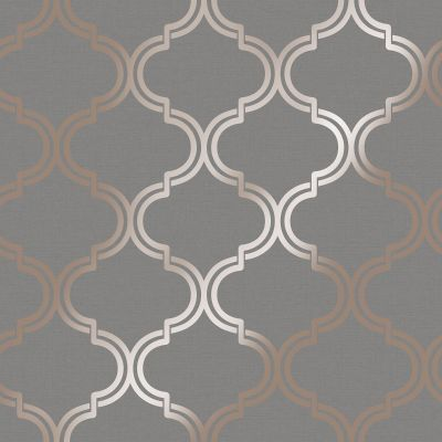 Glistening Geo Trellis Wallpaper Grey / Rose Gold Holden 12752