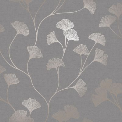 Glistening Ginkgo Wallpaper Grey / Rose Gold Holden 12702