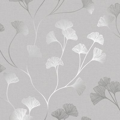 Glistening Ginkgo Wallpaper Grey / Silver Holden 12700