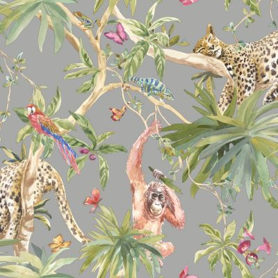 Jungle Animals Wallpaper Light Pink Holden 90691