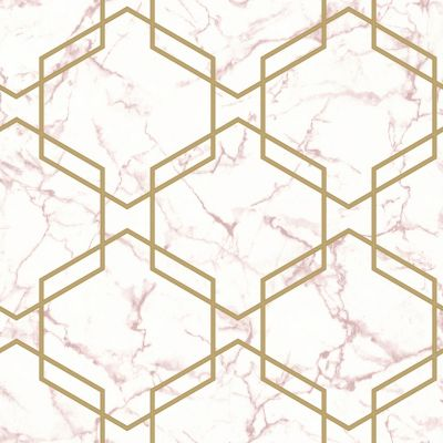 Marble Hexagon Geo Wallpaper Grey / Silver Holden 90710