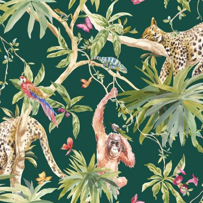 Jungle Animals Wallpaper Green Holden 90693