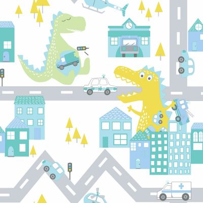 Over the Rainbow Dino Road Wallpaper Teal / Lime Holden 90912