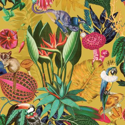 Wonderland Tropical Wallpaper Ochre Holden 91190