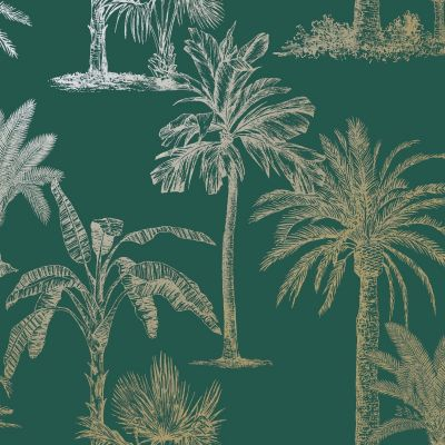 Glistening Tropical Trees Wallpaper Teal / Gold Holden 12820