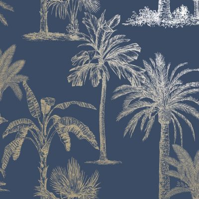 Glistening Tropical Trees Wallpaper Navy / Gold Holden 12821
