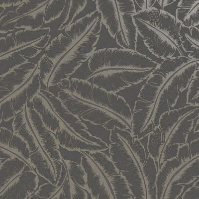 Elgin Tropical Leaf Wallpaper Slate/Gold Holden 65732