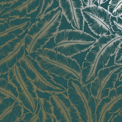 Elgin Tropical Leaf Wallpaper Teal/Gold Holden 65733