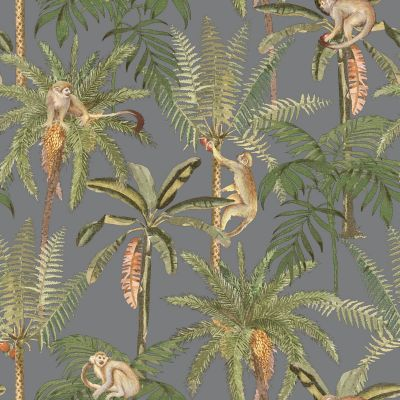 Ateles Tropical Wallpaper Gunmetal Holden 91100