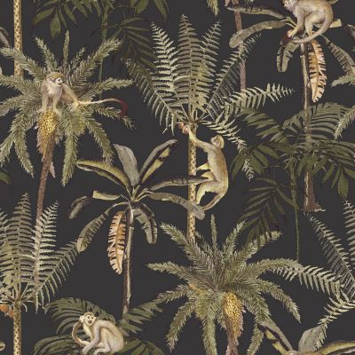 Ateles Tropical Wallpaper Black Holden 91102