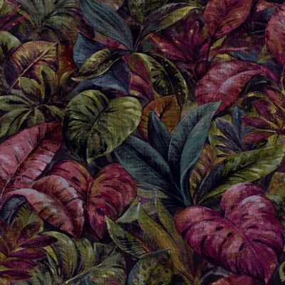 Anori Tropical Leaf Wallpaper Plum Holden 91112