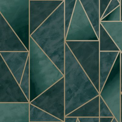 Charon Geometric Wallpaper Teal/Gold Holden 91141
