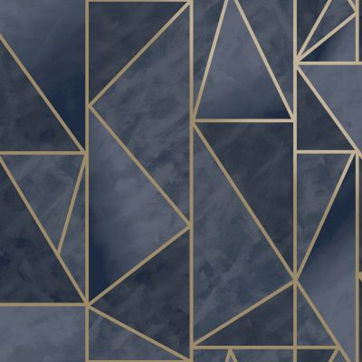 Charon Geometric Wallpaper Navy/Gold Holden 91143