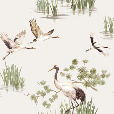 Heath Cranes Wallpaper White Holden 91150