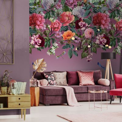 Majorelle Floral Wall Mural Berry Holden 99340